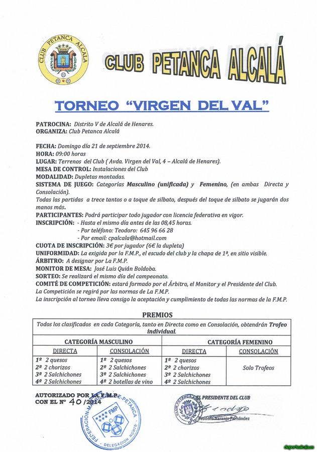 El Club Petanca Alcalá organiza el Torneo «Virgen del Val»