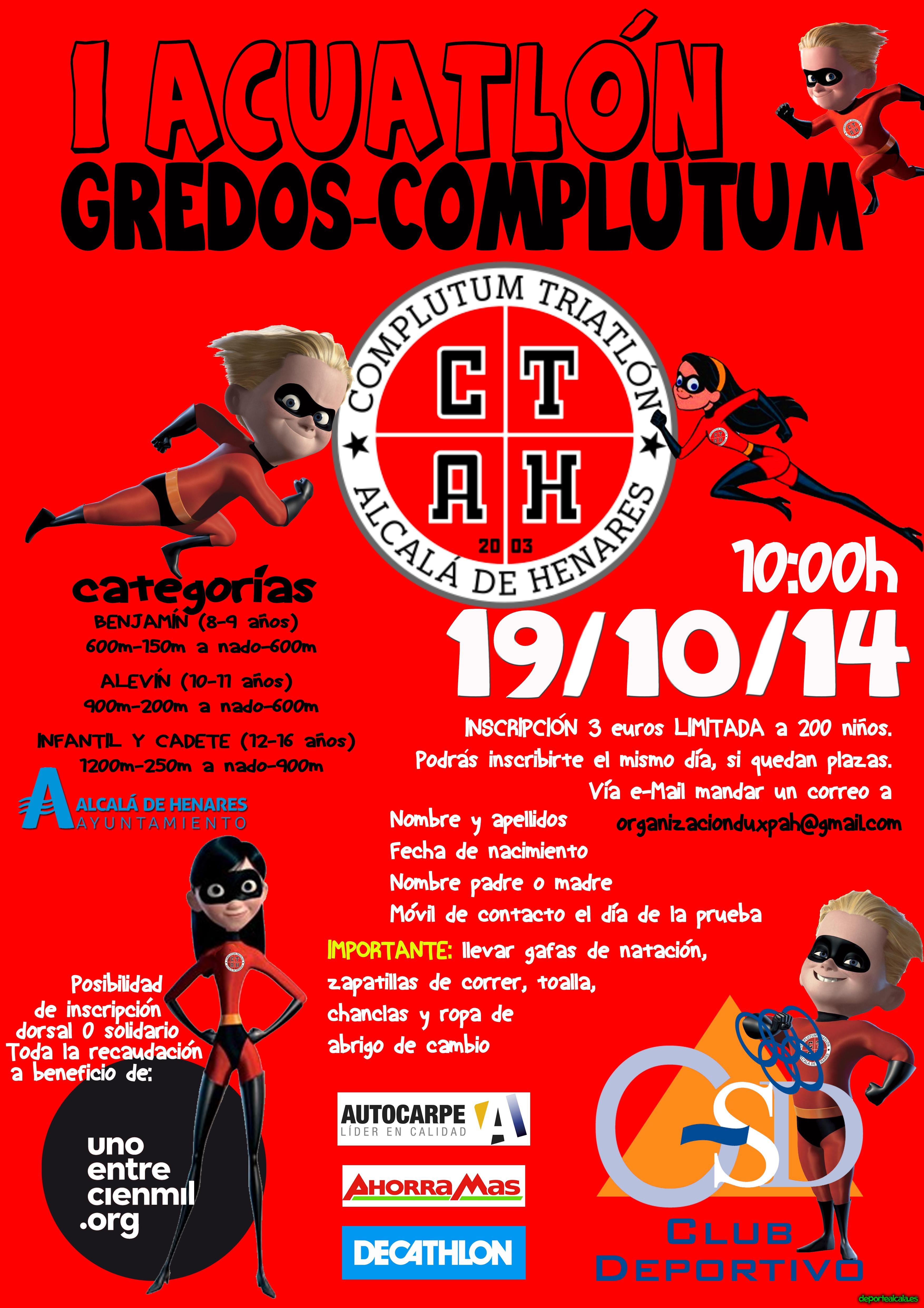 Este domingo se celebra la I edición del Acuatlón  Gredos- Complutum