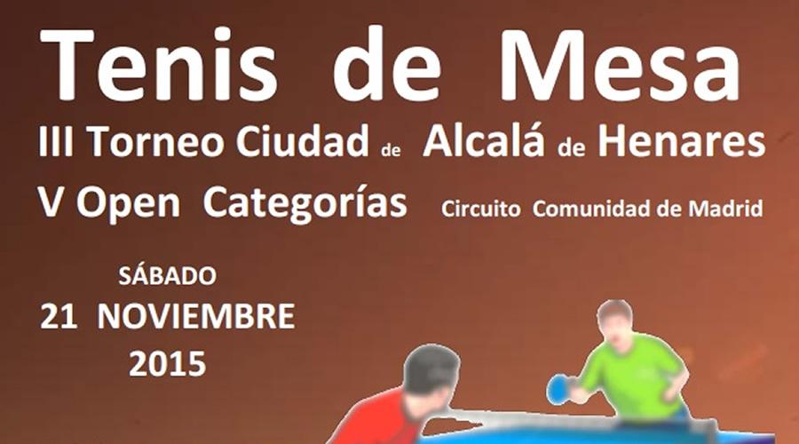 El 21 de noviembre se celebra el III Torneo Ciudad de Alcalá de Henares de Tenis de Mesa